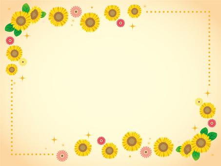 Summer frame sunflower and gerbera