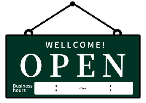 Open Signboard OPEN Green Time