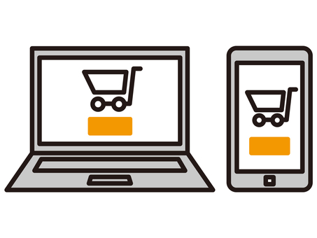 Online shopping computer and smartphone