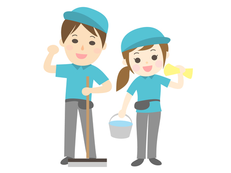 Cheerful cleaning staff men and women couple