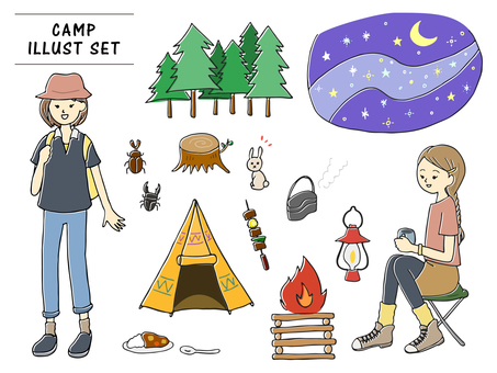 Illustration set of hand drawn style camping