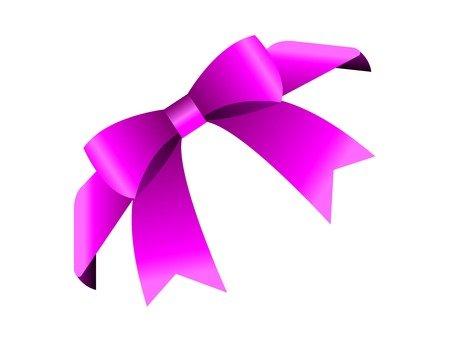 심플 리본 대각선 (핑크)