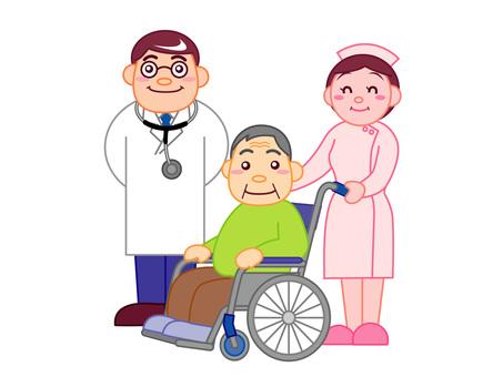 Medical Illustration - Doctor, Nurse, Senior Citizen
