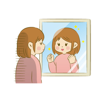 Depressed woman looking at the mirror