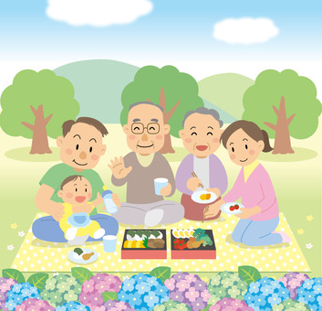Picnic family lunch illustration