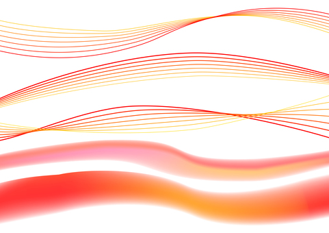Red abstract wavy lines background material set