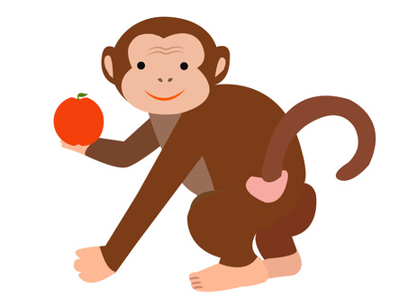 Cute monkey with apple