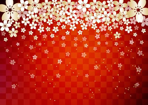 Sakura _ red lattice background