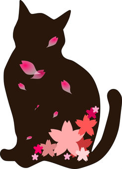 Nyanko silhouette and cherry blossoms