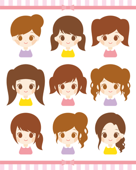 Girls hair arrange various