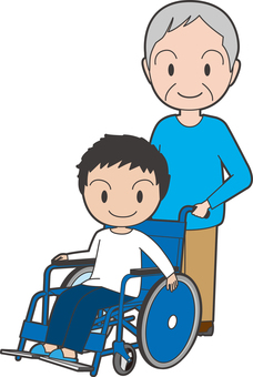 A boy and an accompanying old gentleman on a wheelchair
