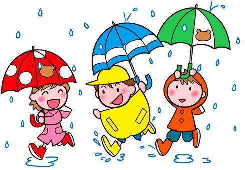 三個人在雨中看起來很開心