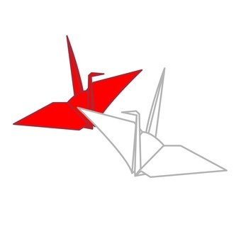 Folding cranes (red and white)
