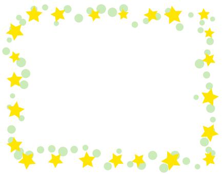 Star and polka dots frame - green