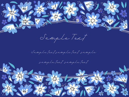 Hand-painted floral frame 05 (blue series)