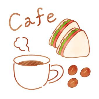 Watercolor style cafe set