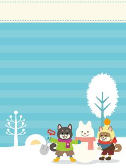柴犬雪遊び背景素材【縦】