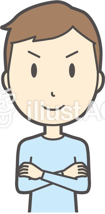 青年ブルー長袖-042-バストのイラスト