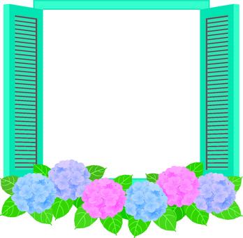 Window frame with hydrangea view