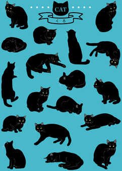 Cats (Real / Black) 18 pose