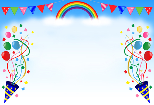 Sports day, background (rainbow, triangle flag, cracker)