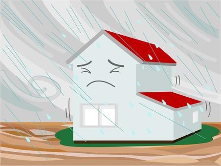 暴風雨と家