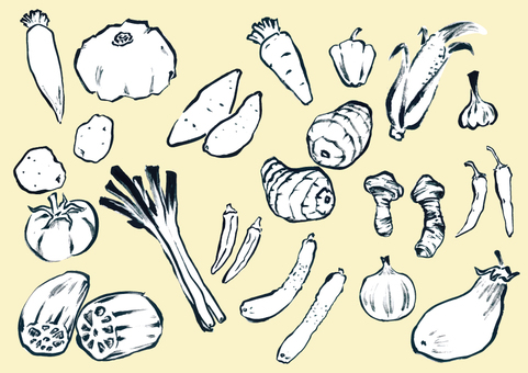 手描き野菜セット(モノトーン)