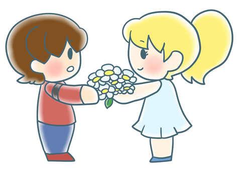 Girls passing flowers