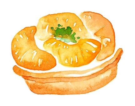 Fruit tart cake orange watercolor