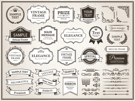 Western style line art decorations, frames and ribbons