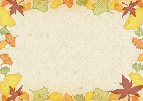Autumn decoration frame Japanese paper / beige