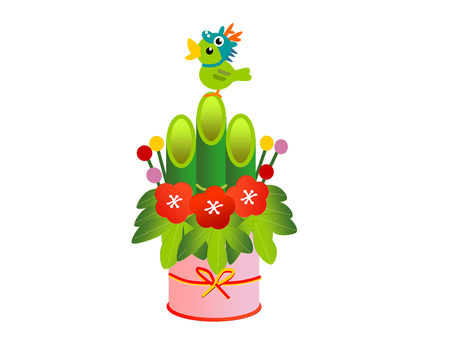 Dragon year New Year's card Kadomatsu and Negi 2