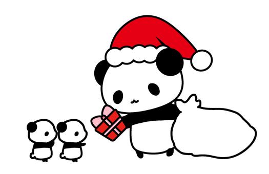 선물을 나눠 팬더 산타 일러스트