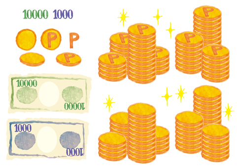 «Watercolor style» Coins and bills