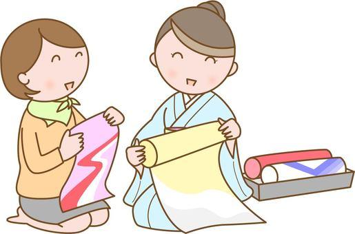 Kimono store clerk and customer