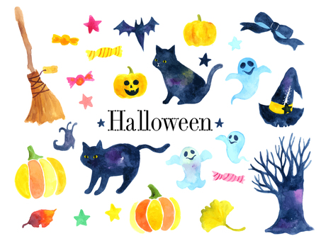 Halloween illustration set