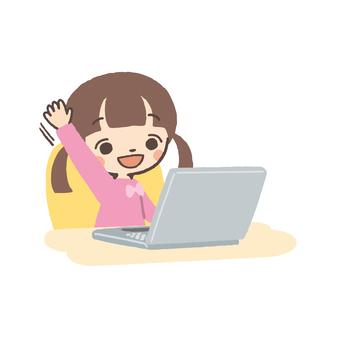 Laptop and girls raising hands