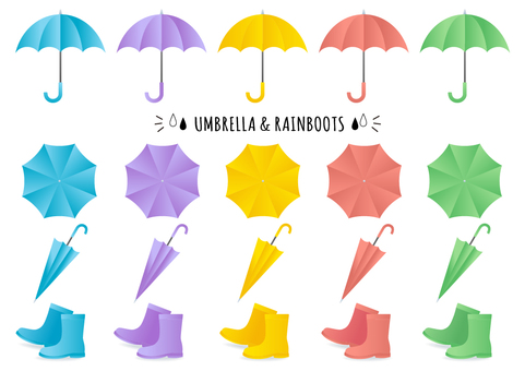 Umbrella and rain boots