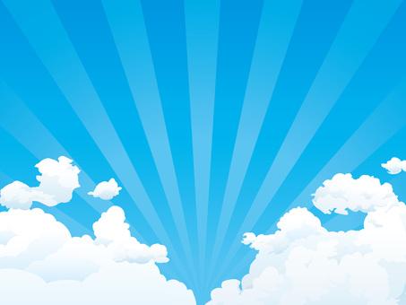 여름의 푸른 하늘 · 뭉게 구름과 방사 배경