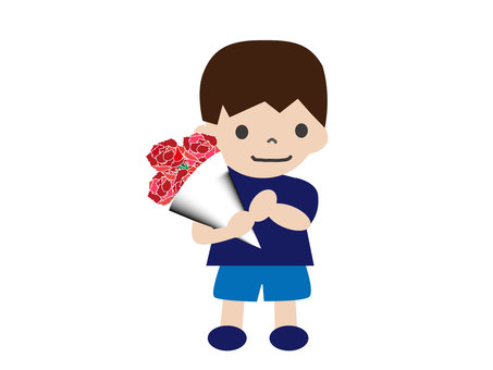 Boy holding a carnation bouquet