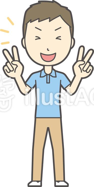 青ポロシャツ男性-012-全身のイラスト