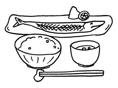 Grilled fish set meal line drawing
