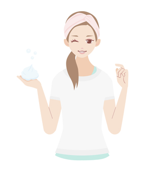 Skin care foam cleansing woman