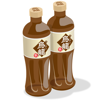 Two oolong tea plastic bottles 500ml