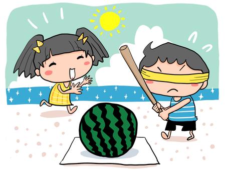 浜辺でスイカ割りをする男の子と女の子