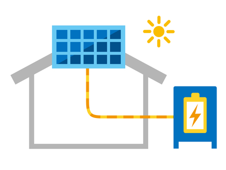 Illustration of solar power generation and storage battery
