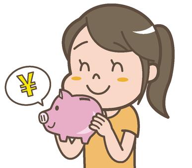 A woman saving money
