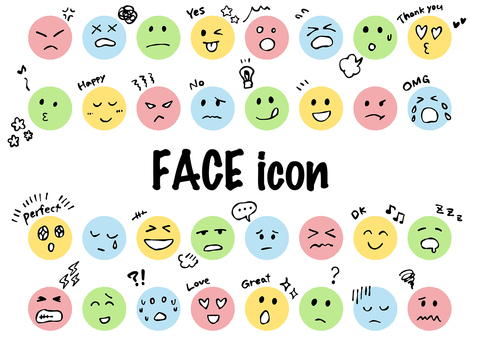 Various facial expressions icon color