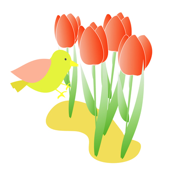 Tulips with flowers and birds