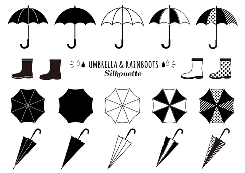 Umbrella and rain boots silhouette